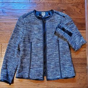 Anne Klein tweed vegan leather trim blazer